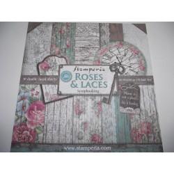 Bloco de papel de Scrap Roses & Laces