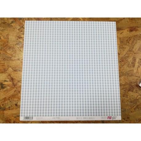 Papel Scrapbooking Bolas e Xadrez Azul Bebe 30x30 cm